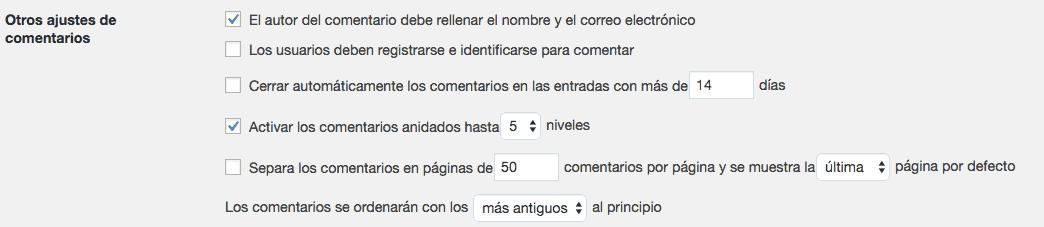 Ajustes de comentarios en WordPress 2