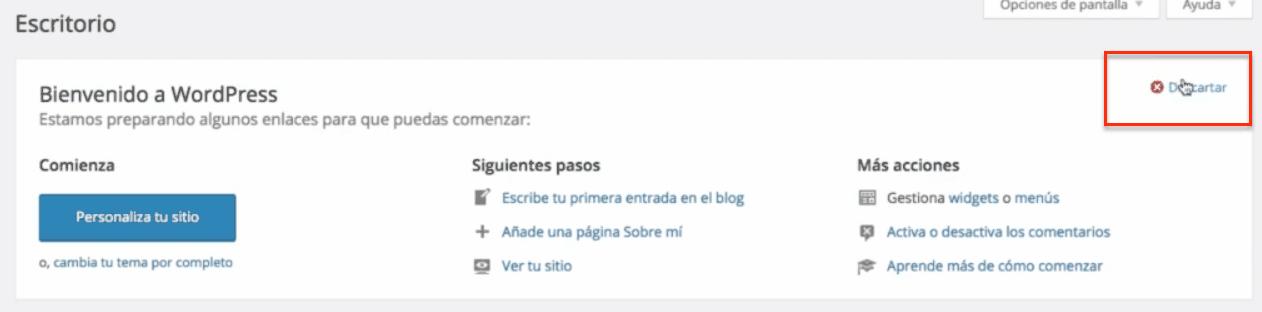 Descartar mensaje de bienvenida de WordPress
