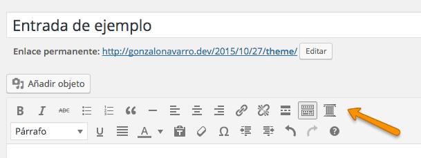 Botón del plugin de columnas en la barra de edición