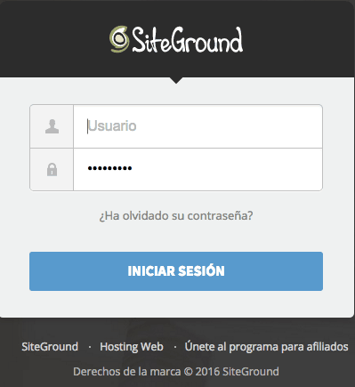 Inicia sesion en SiteGround