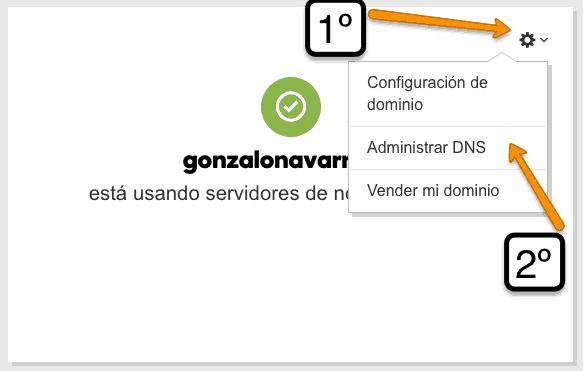 Click en administrar DNS