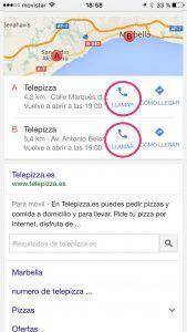 Llamar directamente con el móvil TelePizza