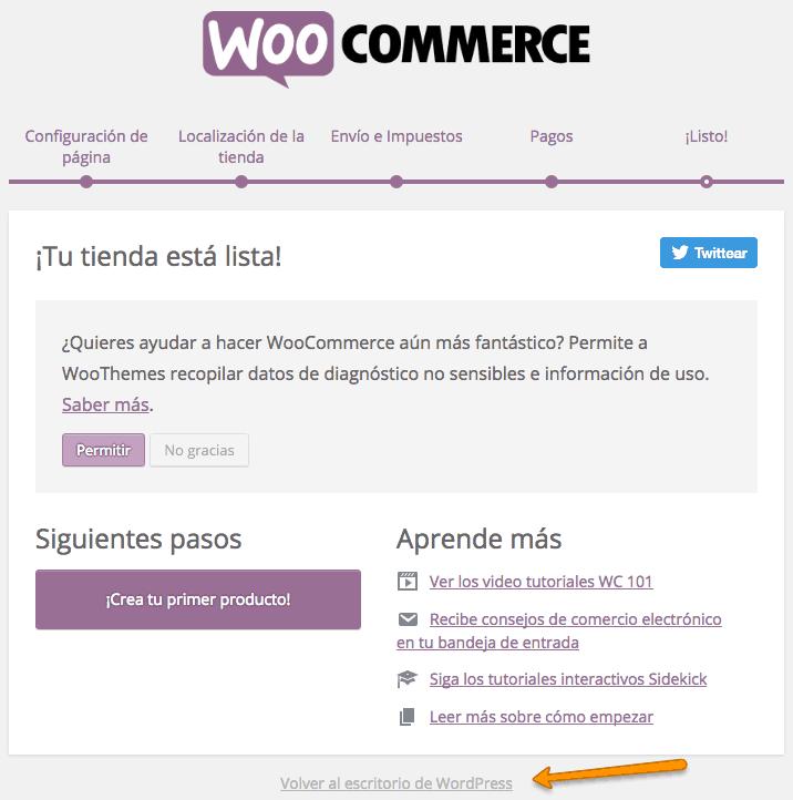 Volver al escritorio de WordPress