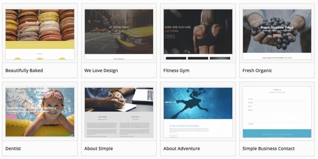 Page Builder paginas predisenadas