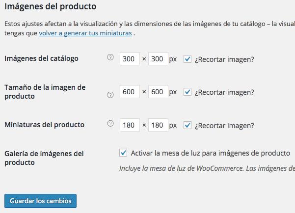 Ajustes de producto en WooCommerce mostrar imágenes