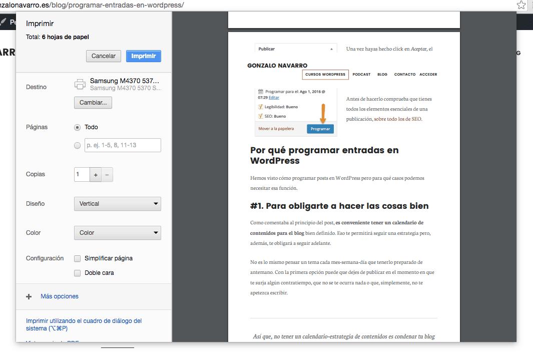 Imprimir posts en WordPress