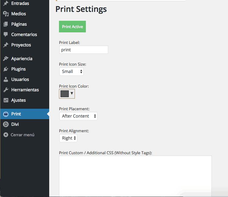 Opciones de impresión plugin WordPress