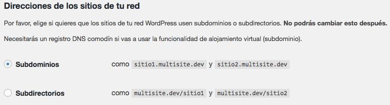 Direcciones de sitio multisite