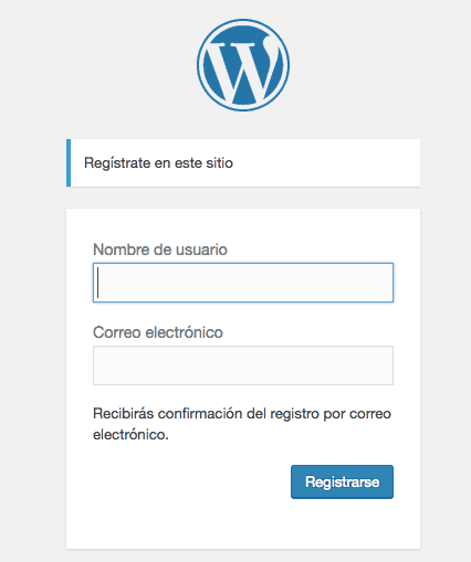 Pagina de registro de WordPress