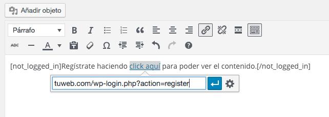 Mensaje y link para los no registrados