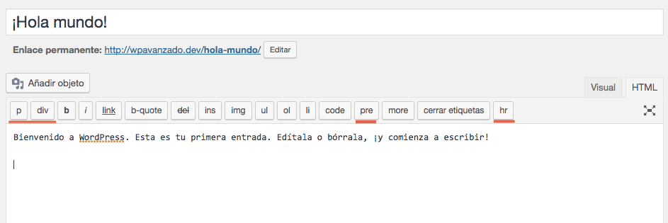Etiquetas personalizadas en el editor de WordPress
