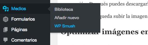 Menú WP Smush WordPress