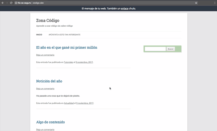 Barra de notificaciones WordPress