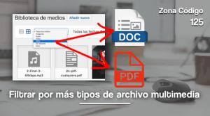 Filtrar por pdf y doc en multimedia wordpress