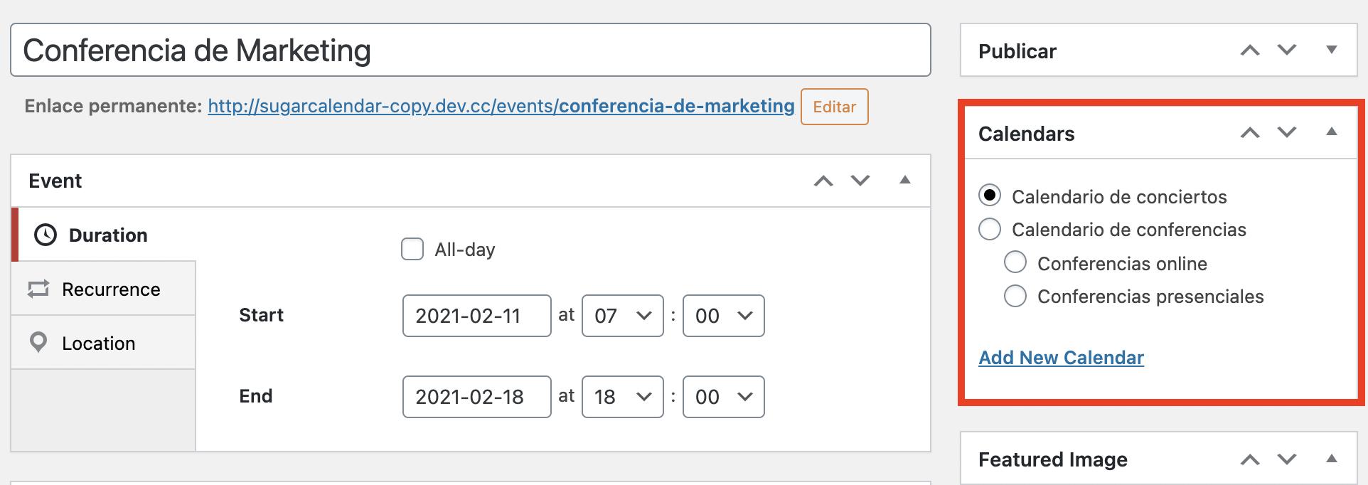 Poner eventos en distintos calendarios