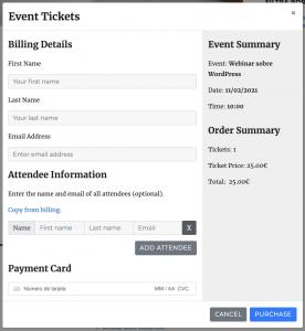 Proceso de compra de entradas