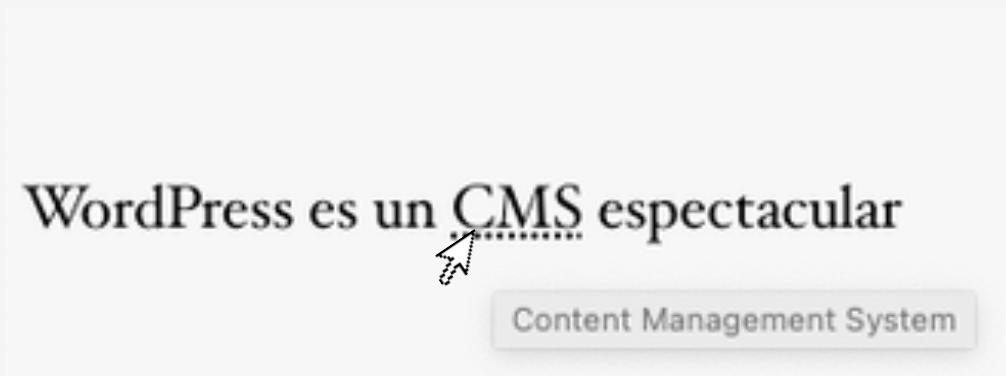 Crear abreviaturas con html